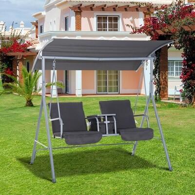 Outsunny® Hollywoodschaukel Gartenschaukel mit Sonnendach 2-Sitzer Grau