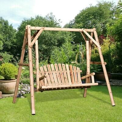 Outsunny® Hollywoodschaukel, 2-Sitzer Gartenschaukel, Schaukelbank, Hängebank, Massivholz Natur 187 x 137 x 170 cm