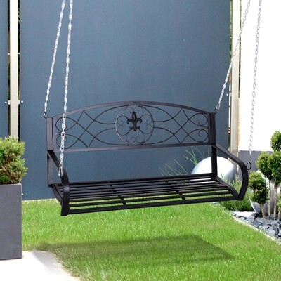 Outsunny® Hängebank 2-Sitzer Gartenschaukel Schaukelbank Schwebebank mit Ketten Metall Schwarz 132 x 63 x 58 cm