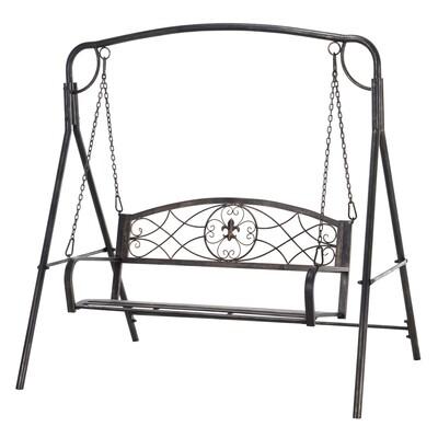 Outsunny® Hollywoodschaukel Metall Antik 2 Sitzer Bronze Gartenschaukel Garten Schmiedeeisen