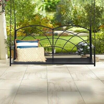 Outsunny® Gartenschaukel Schaukelbank Gartenbank für 2 Personen Terrasse Metall Schwarz