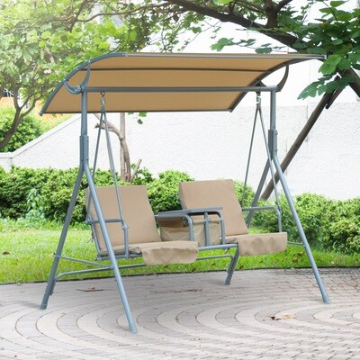 Outsunny® Hollywoodschaukel Gartenschaukel mit Sonnendach 2-Sitzer Beige