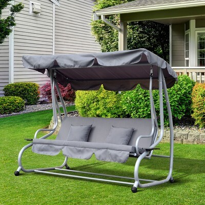 Outsunny® Hollywood-Gartenschaukel | Stahl, Polyester | 200 x 120 x 164cm | Grau