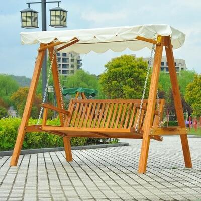 Outsunny® Hollywoodschaukel Gartenschaukel 3-Sitzer Lärche weiss