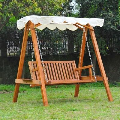 Outsunny® Hollywoodschaukel aus Holz 2-Sitzer Gartenschaukel mit Sonnenschutz weiss