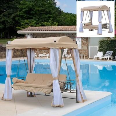Outsunny® Hollywoodschaukel Gartenschaukel 3-Sitzer Metall Beige