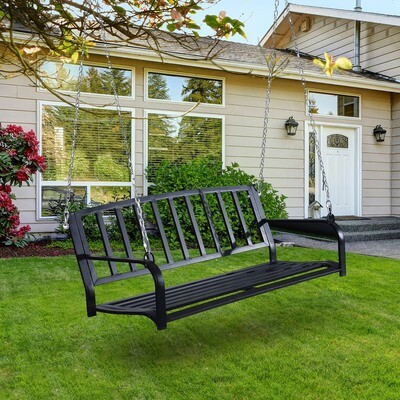 Outsunny® 2-Sitzer Gartenschaukel Hängebank Schaukelbank Schwebebank mit Ketten Metall Schwarz 128 x 63 x 47 cm