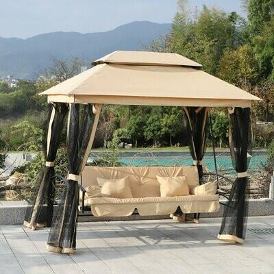 Outsunny® Hollywoodschaukel Gartenschaukel mit Seitenwänden 3-Sitzer Beige