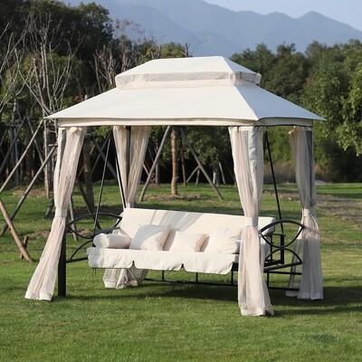 Outsunny® 3 Sitzer Hollywoodschaukel Gartenschaukel Pavillon mit Seitenwände Liegefunktion Beige 245 x 165 x 243 cm