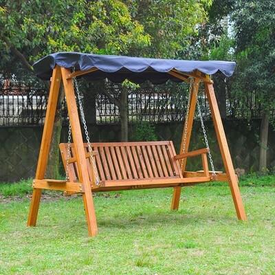 Outsunny® Hollywoodschaukel aus Lärchenholz 3-Sitzer Gartenschaukel mit Sonnendach Blau