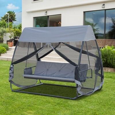 Outsunny® Hollywoodschaukel Gartenschaukel 3-Sitzer Metall