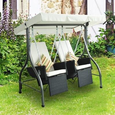 Outsunny® 2-Sitzer Polyrattan Hollywoodschaukel mit Liegefunktion und Sonnendach