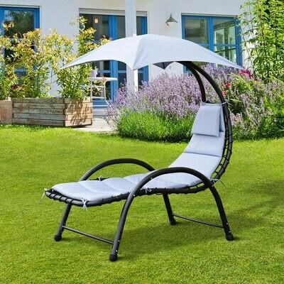 Outsunny® Sonnenliege Gartenliege mit Sonnendach Grau L195 x B100 x H202cm