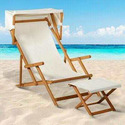 Outsunny® Sonnenliege Gartenliege Liegestuhl Relaxsessel verstellbar mit Sonnendach Akazie