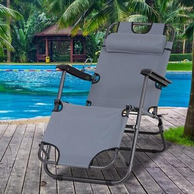 Outsunny® Sonnenliege Relaxliege Strandliege Gartenliege Klappbar 2-Stufig Kissen Grau