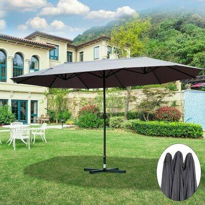 Outsunny® Sonnenschirm Marktschirm Doppelsonnenschirm mit Handkurbel Oval Metall + Polyester Grau 460 x 270 x 240 cm