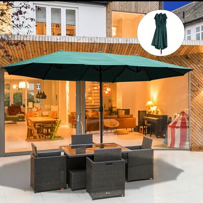 Outsunny® Sonnenschirm Gartenschirm Marktschirm Doppelsonnenschirm Kurbel Oval L460 cm