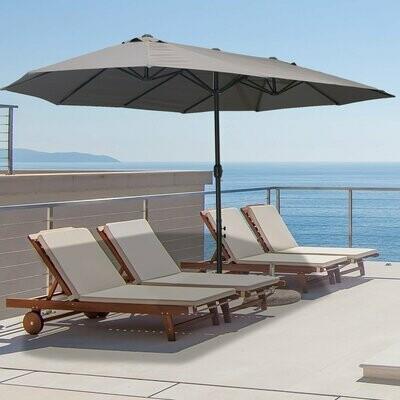 Outsunny® Doppelsonnenschirm mit Ständer Gartenschirm Marktschirm Terrasse Stahl Grau 460cm