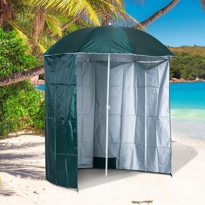 Outsunny® Sonnenschirm Strandschirm 220cm mit Seitenwand Grün
