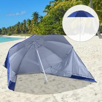 Outsunny® 2 in 1 Strandschirm Sonnenschirm Strandmuschel 210cm Blau