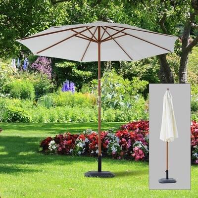 Outsunny® Sonnenschirm Holzschirm Φ2,7m Kurbel Pappel