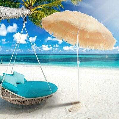 Outsunny® Sonnenschirm | Hawaiischirm / Strand Bastschirm | Beige | Ø 160 cm