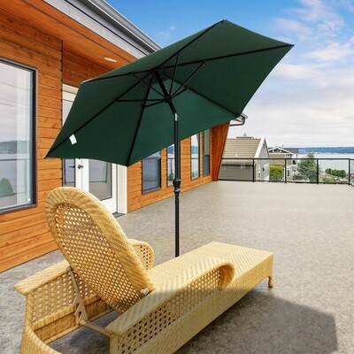 Outsunny® Sonnenschirm Gartenschirm mit Handkurbel Alu 180/㎡ Polyester Grün ∅2,7 x 2,35 m