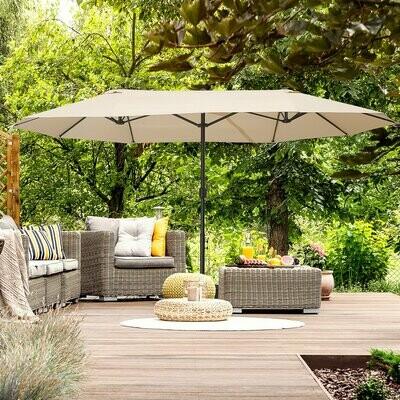 Outsunny® grosser Doppelsonnenschirm mit Ständer Gartenschirm Marktschirm Terrasse Stahl Beige