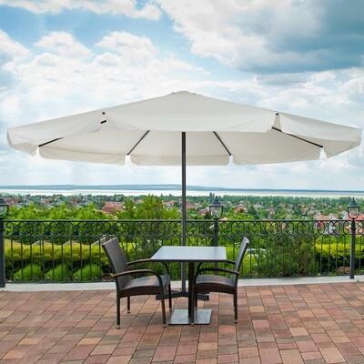Outsunny® grosser Sonnenschirm Gartenschirm Handkurbel Rund 500cm Creme