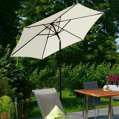 Outsunny® Knickschirm Sonnenschirm Gartenschirm mit Handkurbel Alu 180/㎡ Polyester Cremeweiss Ø2,7 x 2,35 m