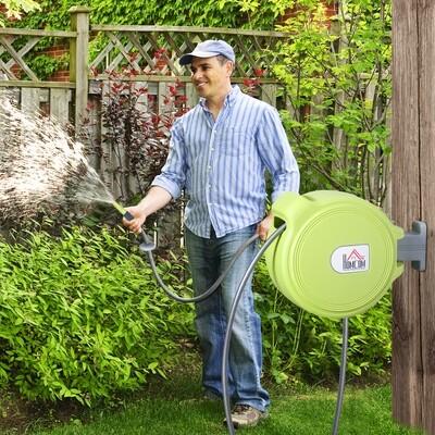 HOMCOM® Schlauchtrommel Schlauchbox Garten Schlauchhalter Wandmontage automatisch 180° schwenkbar Grün 20 m