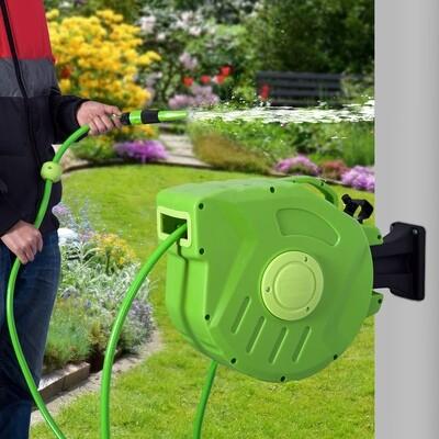 DURHAND® Schlauchtrommel Schlauchaufroller Grün L45 x B21 x H35,5cm