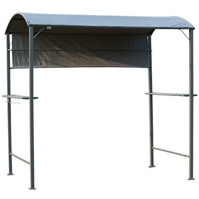 Outsunny® Grillpavillon BBQ-Pavillon mit 2 Ablagen Flammschutzdach Polyester Schwarz