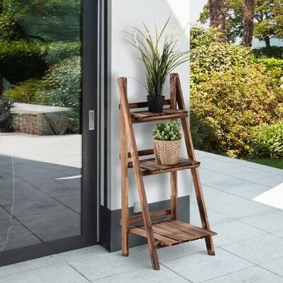 Outsunny® Pflanzentreppe L40 x W37 x H93cm Blumenregal 3 Stufen Tannenholz