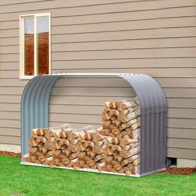 Outsunny® Kaminholzregal Außen Holzunterstand Kaminholz Brennholz Stapelhilfe 0,85 m³ Stahl Grau