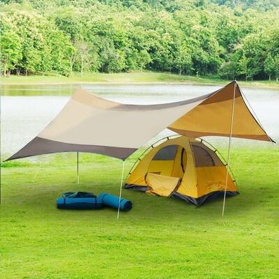 Outsunny® Sonnensegel Tarp Sonnenschutz Polyester Golden 550 x 560cm