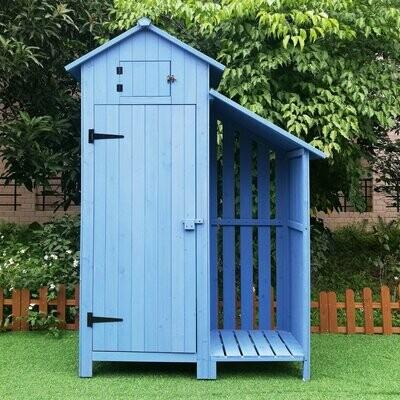 Outsunny® Gartenhaus 2-in-1 Gerätehaus mit Brennholzlagerraum Geräteschuppen Holz Blau
