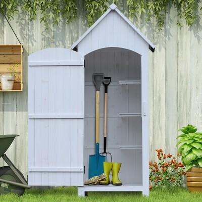 Outsunny® Holz Gerätehaus | Holzhütte | Tannenholz, Bitumenpappe | Weiß | 77,5 x 54,2 x 179,5 cm