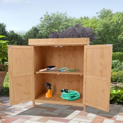 Outsunny® Geräteschuppen Gartenschrank 2 Fächer Tannenholz Natur