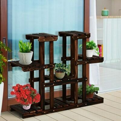 Outsunny® Pflanzenregal Pflanzenstand Vierstufiges Blumentreppe Massivholz Braun