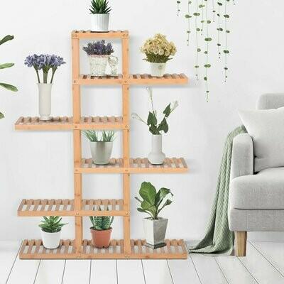 HOMCOM® Blumentreppe Blumenregal Pflanzentreppe 6 Ebenen Lattenrost Bambus 98 x 28 x 132 cm
