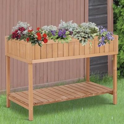 Outsunny® Pflanztisch Hochbeet Blumenkasten Anzuchttisch 8 Fächer mit Abfluss Ablage Tanne Massivholz 120 x 60 x 22 cm