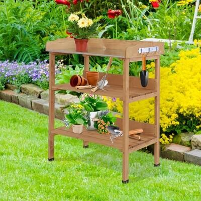 Outsunny® Pflanztisch Gärtnertisch Blumentisch mit Metall Arbeitsfläche Garten Holz