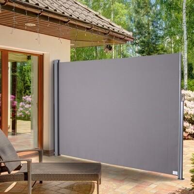 Outsunny® Seitenmarkise Sichtschutz Sonnenschutz Seitenrollo Polyester Grau 300x200 cm