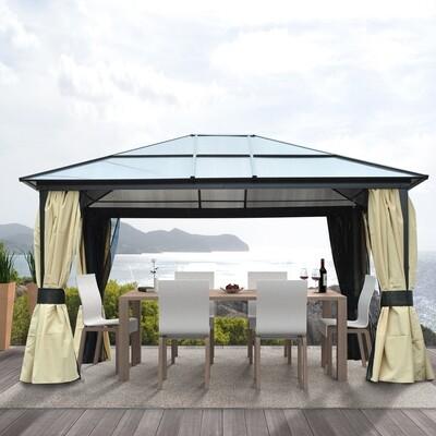 Outsunny® Luxus Pavillon 4,3m x 3,6m Alu Polycarbonat