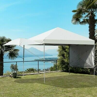 Outsunny® Pavillon Faltpavillon Gartenzelt mit 2 ausfahrbaren Sonnenstoren Sonnenschutz Stahl
