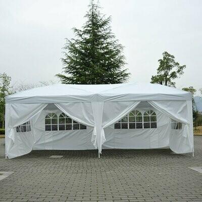 Outsunny® 3x6 m Faltpavillon Pavillon Partyzelt Gartenzelt inkl. 6 Seitenteile Weiss