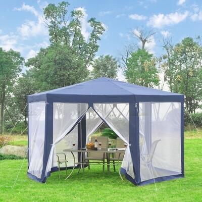 Outsunny® Pavillon Gartenpavillon 6-eckig blau 3,9m x 3,9m