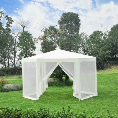 Outsunny® Pavillon 3,9m x 3,9m Partyzelt 6-eckig creme