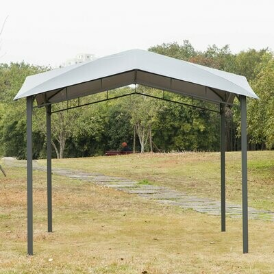 Outsunny® Gartenpavillon Pavillon Überdachung Vordach Sonnenschutz Partyzelt Pergola Grau 3 x 3 m
